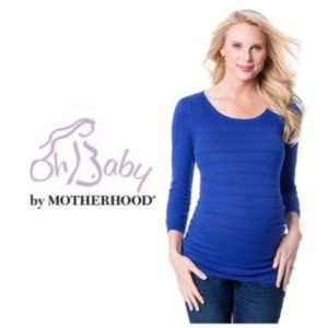Oh Baby Motherhood Maternity Blue Sweater Sz L NWT